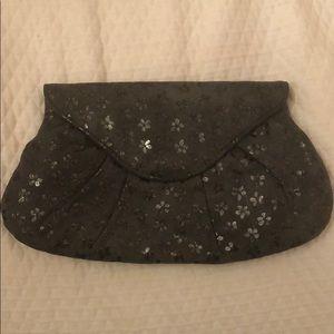 Grey floral clutch